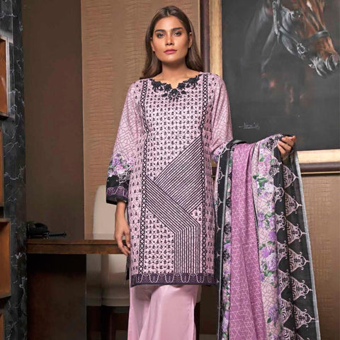 Rangreza Embroidered Lawn 3 Piece Un-Stitched Suit - 6B - test-store-for-chase-value