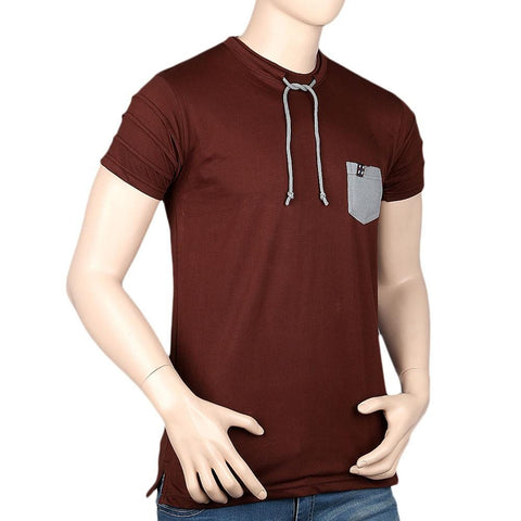Men's Round Neck Half Sleeve T-Shirt - Dark Brown - test-store-for-chase-value