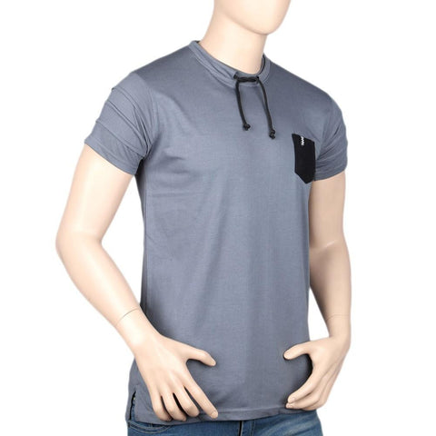 Men's Round Neck Half Sleeve T-Shirt - Grey - test-store-for-chase-value