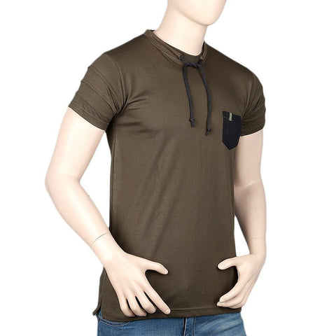 Men's Round Neck Half Sleeve T-Shirt - Dark Green - test-store-for-chase-value
