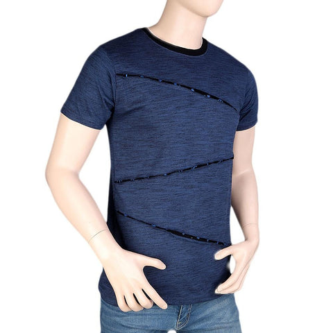 Men's Round Neck Half Sleeve T-Shirt - Steel Blue - test-store-for-chase-value