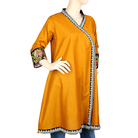 Women's Embroidered Short Kurti - Mustard - test-store-for-chase-value