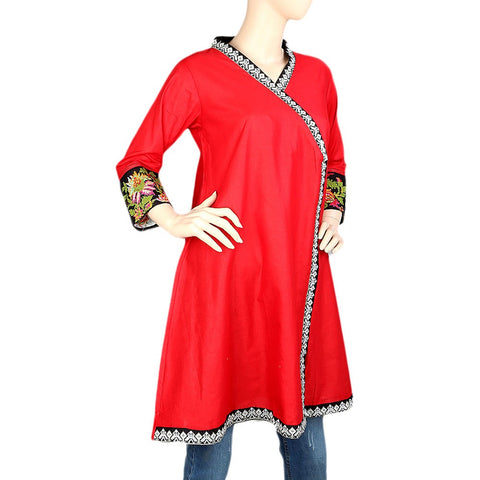 Women's Embroidered Short Kurti - Red - test-store-for-chase-value