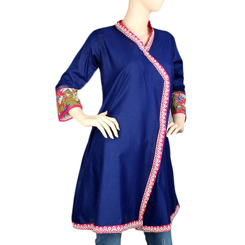 Women's Embroidered Short Kurti - Navy Blue - Navy/Blue - test-store-for-chase-value