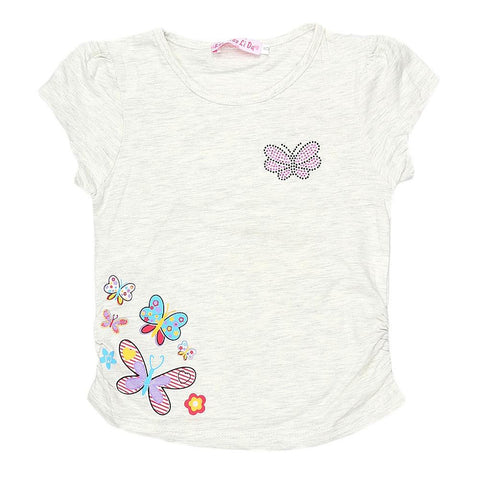 Newborn Girls Half Sleeve Printed T-Shirt - Light Grey - test-store-for-chase-value