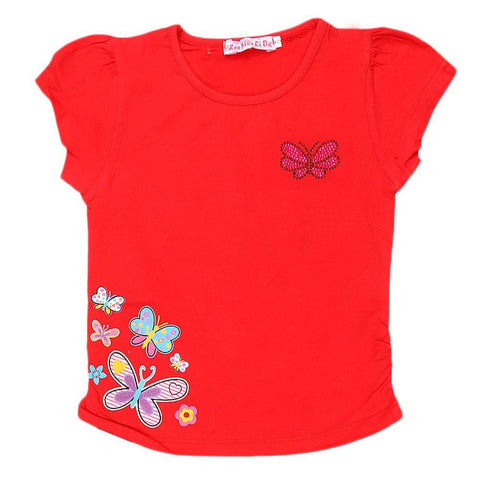 Newborn Girls Half Sleeve Printed T-Shirt - Red - test-store-for-chase-value
