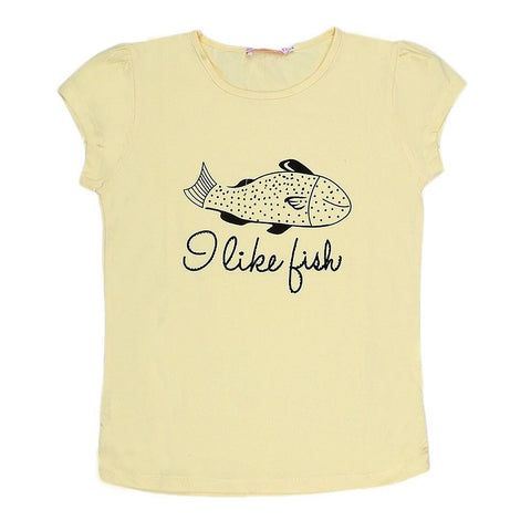 Girls Half Sleeve Printed T-Shirt - Yellow - test-store-for-chase-value