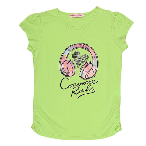 Girls Half Sleeve Printed T-Shirt - Green - test-store-for-chase-value