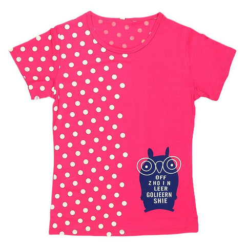 Girls Half Sleeve Printed T-Shirt - Pink - test-store-for-chase-value