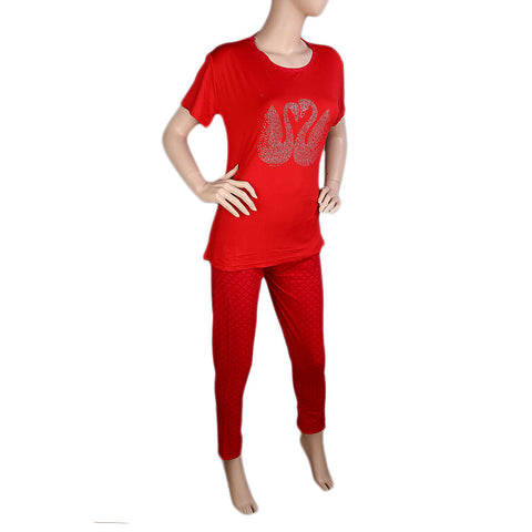 Women's 2 Piece Night Suit - Red - test-store-for-chase-value