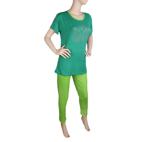 Women's 2 Piece Night Suit - Green - test-store-for-chase-value