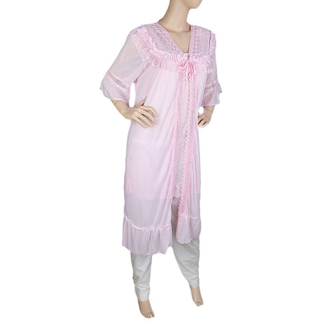 Women's Nighty 2 Pcs Set - Tea Pink - test-store-for-chase-value