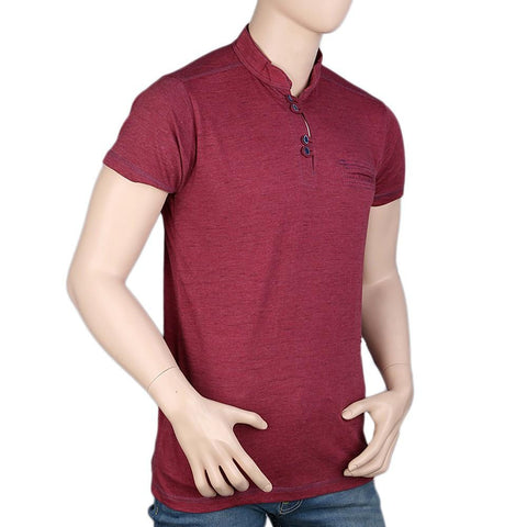 Men's Collar Half Sleeve T-Shirt - Maroon - test-store-for-chase-value