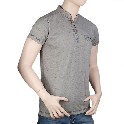 Men's Collar Half Sleeve T-Shirt - Beige - test-store-for-chase-value