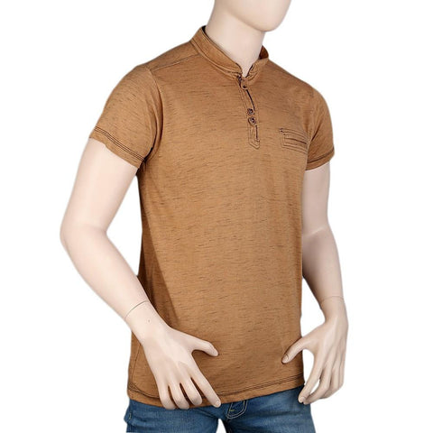 Men's Collar Half Sleeve T-Shirt - Brown -  Black - test-store-for-chase-value