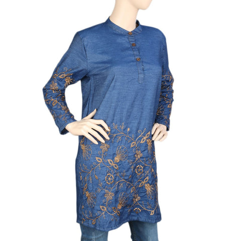 Women's Embroidered Denim Kurti - Blue -  Blue - test-store-for-chase-value