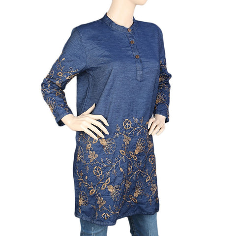 Women's Embroidered Denim Kurti - Dark Blue - test-store-for-chase-value