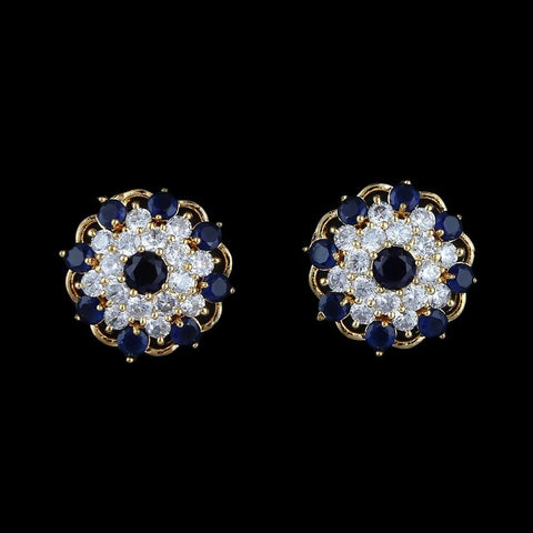American Diamond Ear Tops - Blue - test-store-for-chase-value
