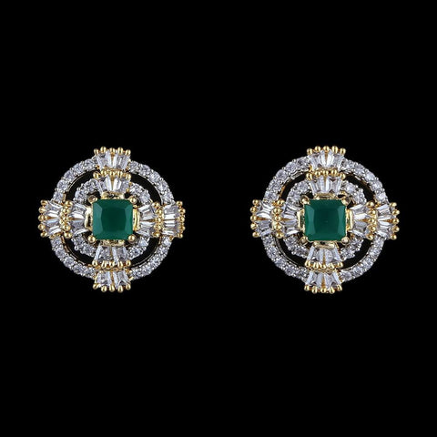 American Diamond Ear Tops - Golden & Green - test-store-for-chase-value