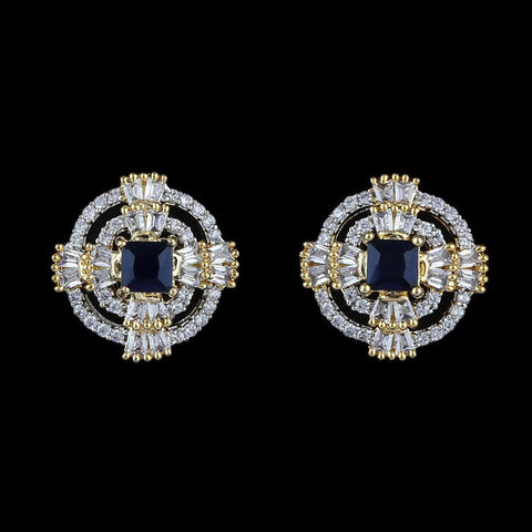 American Diamond Ear Tops - Golden & Blue - test-store-for-chase-value