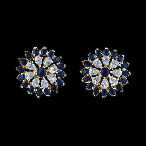 American Diamond Ear Tops - Blue & Golden - test-store-for-chase-value