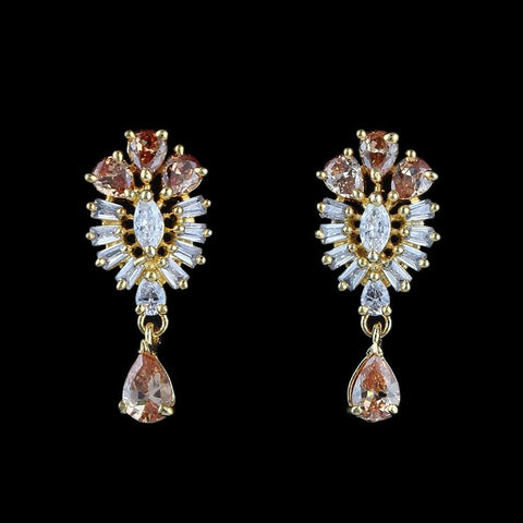 American Diamond Ear Tops - Peach & Golden - test-store-for-chase-value