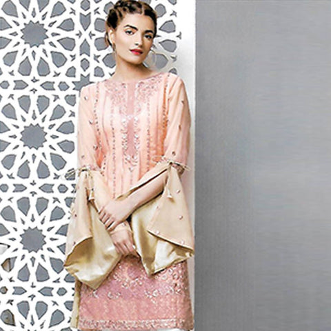 Sahil Embroidered Tissue Un-Stitched Kurti - ZS 02 - test-store-for-chase-value
