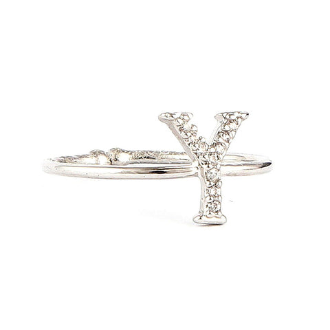 Women's Alphabet Finger Ring - Silver -  Silver - test-store-for-chase-value