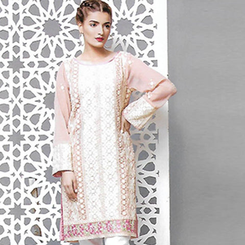 Sahil Embroidered Chiffon Un-Stitched Kurti - ZS 06 - test-store-for-chase-value