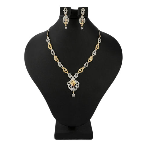 American Diamond Jewellery Set - Golden & Silver - test-store-for-chase-value