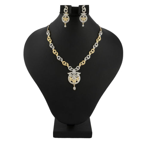 American Diamond Jewellery Set - Silver & Golden - test-store-for-chase-value