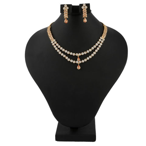 American Diamond Jewellery Set - Peach & Golden - test-store-for-chase-value