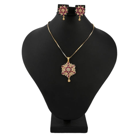 American Diamond Locket Set - Red & Golden - test-store-for-chase-value