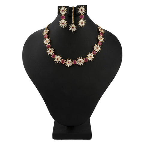 American Diamond Jewellery Set - Golden & Red - test-store-for-chase-value