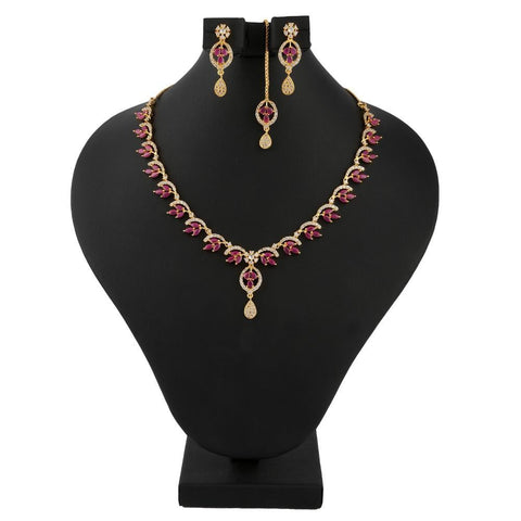 American Diamond Jewellery Set - Red & Golden - test-store-for-chase-value