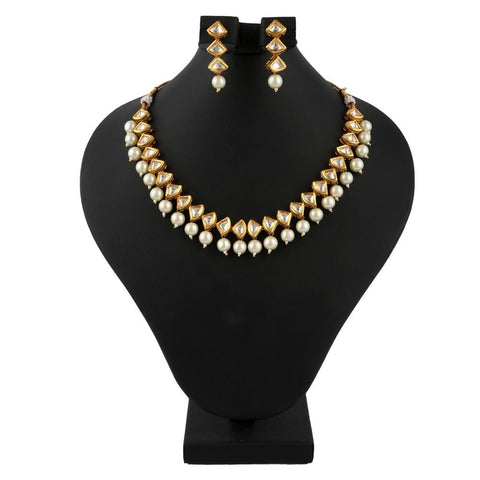 American Diamond Kundan Jewellery Set - Golden & White - test-store-for-chase-value