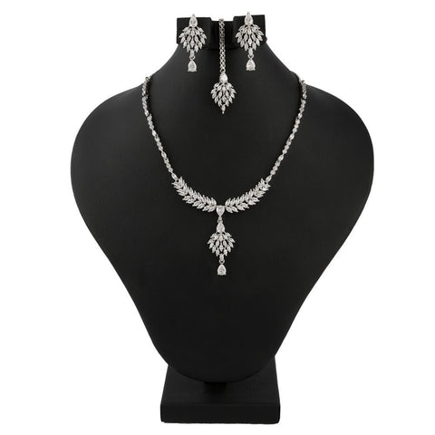American Diamond Jewellery Set - Silver - test-store-for-chase-value
