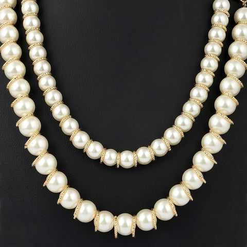 Women's Fancy Mala - Gold & White - test-store-for-chase-value