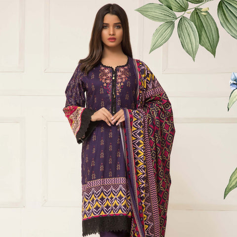 Signature Icon Printed Lawn 3 Piece Un-Stitched Suit Vol 01 - 02 A - test-store-for-chase-value