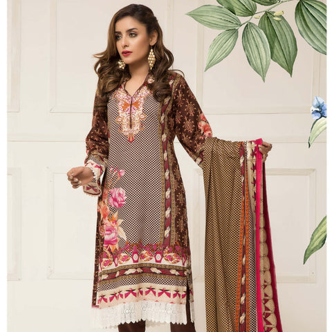 Signature Icon Printed Lawn 3 Piece Un-Stitched Suit Vol 01 - 03 A - test-store-for-chase-value