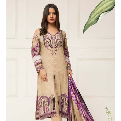 Signature Icon Printed Lawn 3 Piece Un-Stitched Suit Vol 01 - 04 A - test-store-for-chase-value
