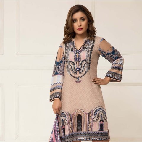 Signature Icon Printed Lawn 3 Piece Un-Stitched Suit Vol 01 - 04 B - test-store-for-chase-value