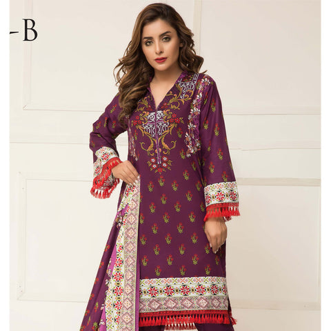 Signature Icon Printed Lawn 3 Piece Un-Stitched Suit Vol 01 - 12 B - test-store-for-chase-value