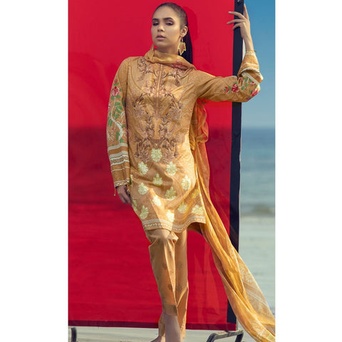 Silkoria Embroidered Lawn 3 Piece Un-Stitched Suit Vol 02 - RC150 A - test-store-for-chase-value
