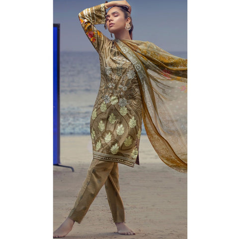Silkoria Embroidered Lawn 3 Piece Un-Stitched Suit Vol 02 - RC150 B - test-store-for-chase-value