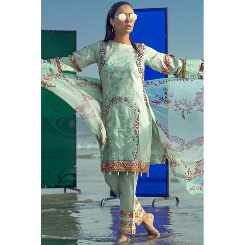 Silkoria Embroidered Lawn 3 Piece Un-Stitched Suit Vol 02 - RC152 A - test-store-for-chase-value