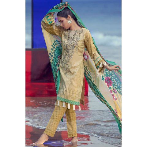 Silkoria Embroidered Lawn 3 Piece Un-Stitched Suit Vol 02 - RC154 B - test-store-for-chase-value