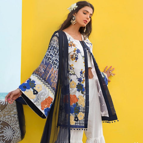 Ayesha Ibrahim Embroidered Lawn Un-Stitched Suit - Aster - test-store-for-chase-value