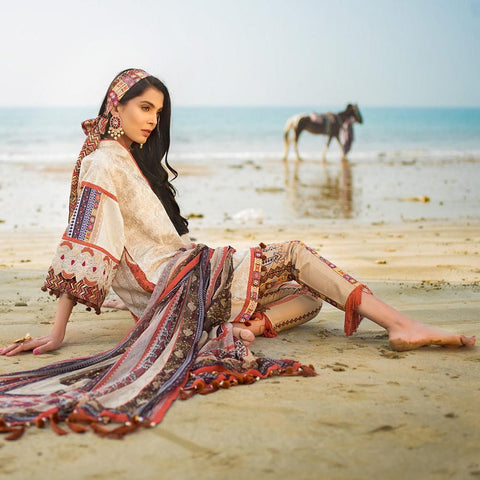 Ayesha Ibrahim Embroidered Lawn Un-Stitched Suit - Bella - test-store-for-chase-value