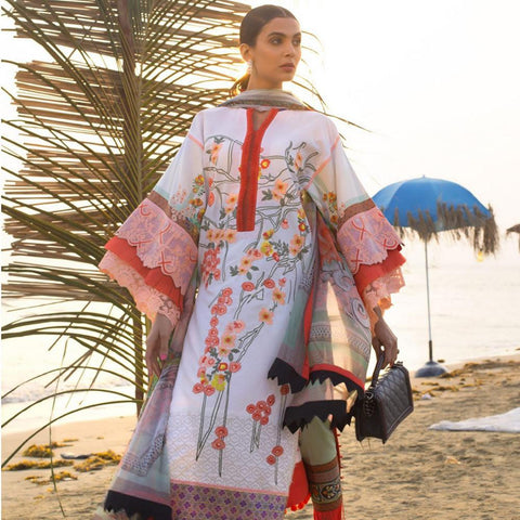 Ayesha Ibrahim Embroidered Lawn Un-Stitched Suit - Bloom - test-store-for-chase-value